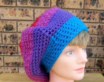 7956e45e234 Crochet beret - colourful hat - bright hat - striped beret - crocheted tam o  shanter - crochet hat - striped hat
