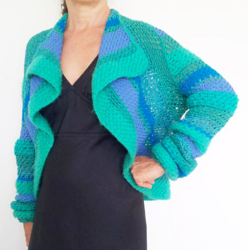 Crocheted green jacket with stripes green cardigan