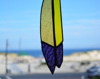 Abstract Textured Iridescent Purple & Yellow Stained Glass Feather Suncatcher