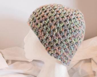 Multi Color Pastel Crochet Beanie