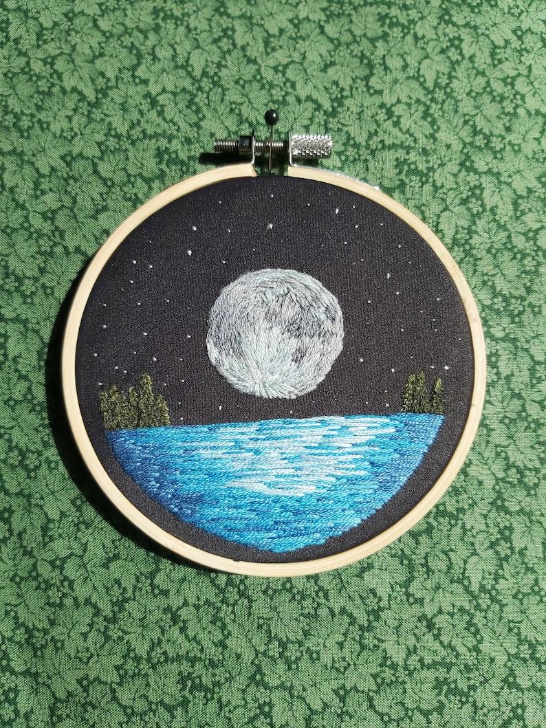 Moon over the Water 4 Embroidery Hoop; Elegant