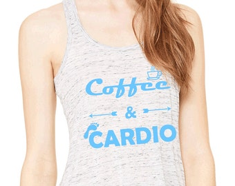 7555397006d90 Coffee   Cardio Flowy Workout Tank Top. Womens Fitness Motivation. Running  Tank Top. Gift for Runner or Coffee Lover.
