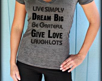 Womens Workout V-Neck T-Shirt. Live Simply, Dream Big. Motivational Workout Apparel. Running T-Shirt. Workout Tops.