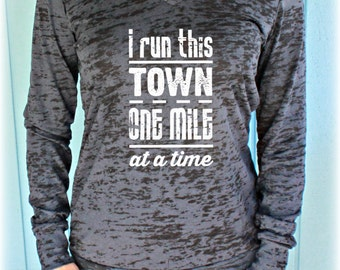 Womens Pullover Fitness Workout Hoodie. I Run This Town. Running Hoodie. Burnout Hoodie. Motivational Shirt.