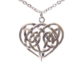 Large Heart necklace, celtic heart necklace, celtic necklace, silver necklace, stainless steel necklace, heart pendant necklace