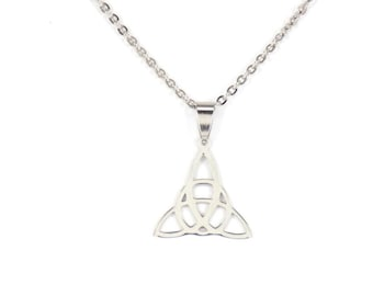 Necklace, Celtic jewelry, statement necklace, celtic necklace, silver necklace, celtic pendant, triangle pendant, celtic triangle necklace