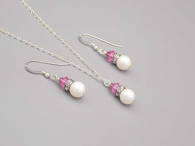 pearlescent necklace and earring set bridesmaid gift Pink necklace and earring set wedding jewelry bridesmaid jewelry set