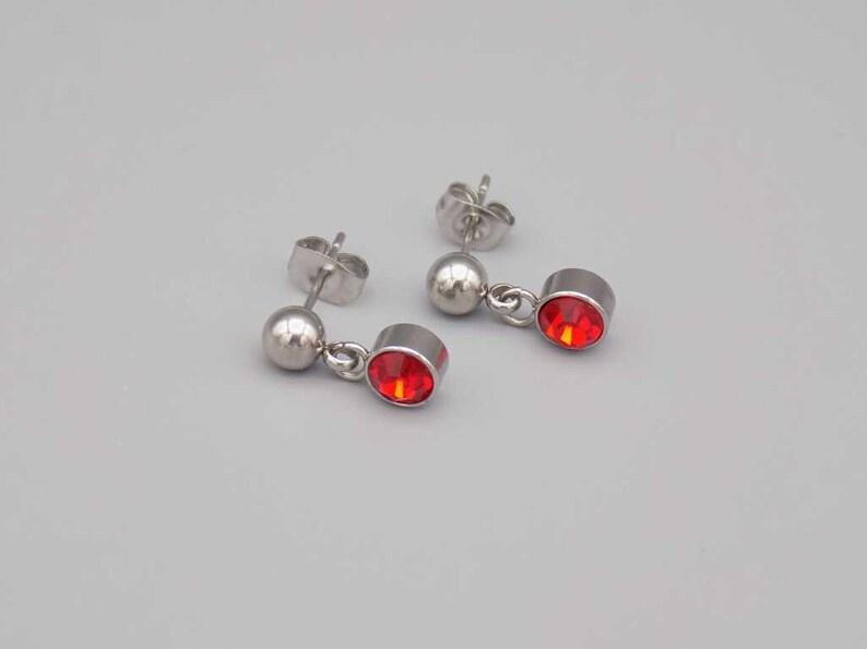 Stud Birthstone Earrings Silver earrings birthstone jewelry Red earrings january earrings ruby earrings