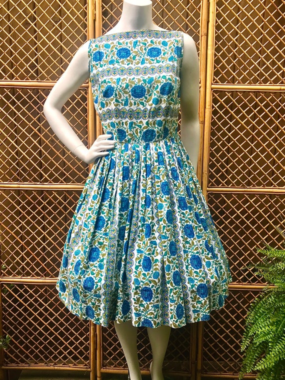 1950s Blue, Green and White Floral Cotton Dress