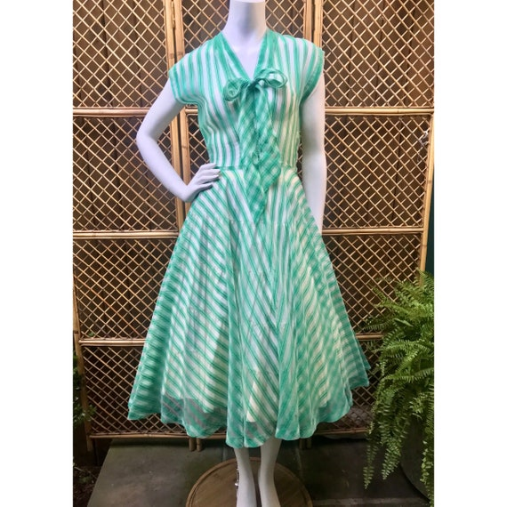 1950's Green Peppermint Stripe Sheer Dress