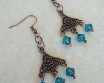 Copper and Swarovski Crystals Earrings