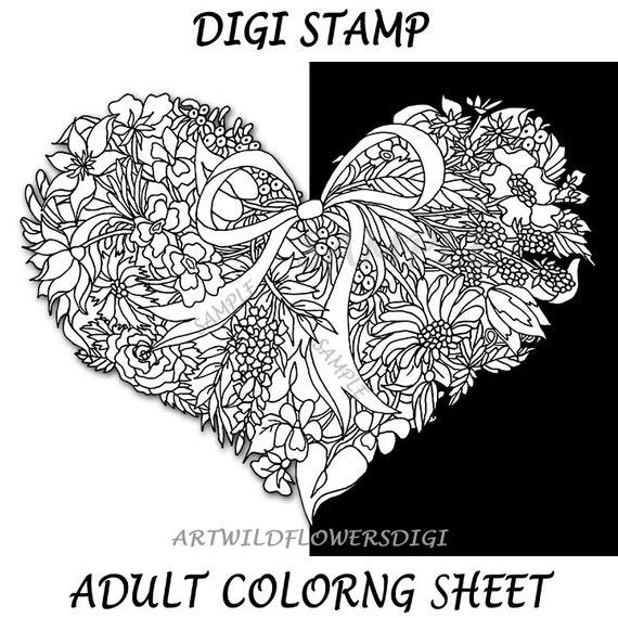 Página para colorear de flores silvestres corazón adulto Color | Etsy