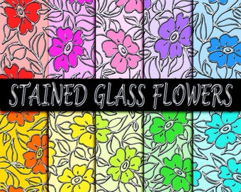 "20 Floral Digital Papers Stained Glass Digi Flower Paper Set - 8.5x11"" Printable Leaded Glass Flowers Silver Foil Outline - On SALE!"