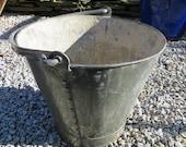 Original Condition Galvanised Bucket Loop Handle Flat Base Riveted Construction Coal Scuttle Log Basket Kindling Store