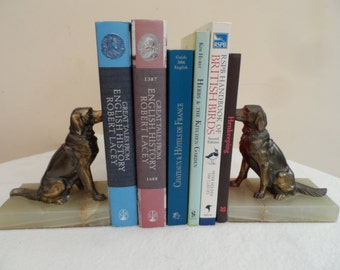 Vintage French Art Deco Style Marble & Bronze Spelter Book Ends with Labrador Dogs in sitting poses.