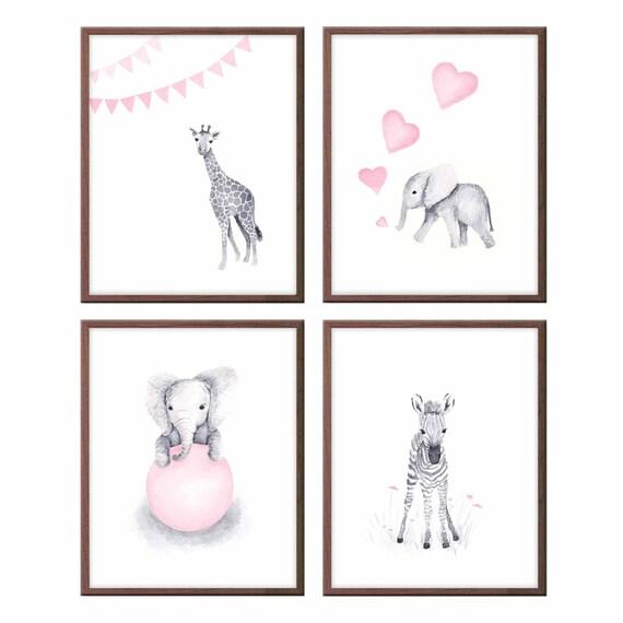 Babytiere Wandbilder Kinderzimmer Dekor rosa und grau Baby | Etsy