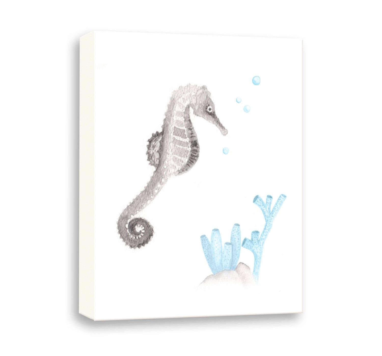 Baby Boy Nursery Art Seahorse Nursery Canvas Sea Life | Etsy