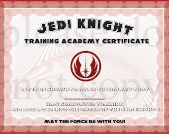 instant dl jedi knight certificate star wars birthday party printable not personalized - Jedi Knight Certificate Template
