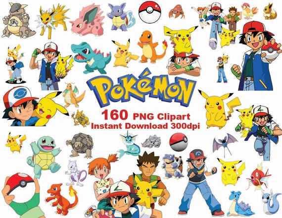 INSTANT DL 160 PNG Pokemon Clipart Printable Digital