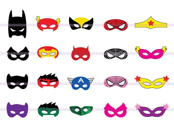 graphic about Superhero Printable Mask identify Instand DL -20 SUPERHERO Masks Slice-Out Birthday Occasion -Printable -Mask (Printable)