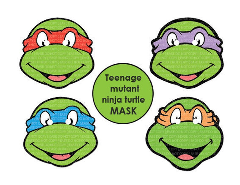 picture regarding Ninja Turtle Mask Printable titled Prompt DL- Teenage Mutant Ninja Turtles MASK - Printable Birthday celebration
