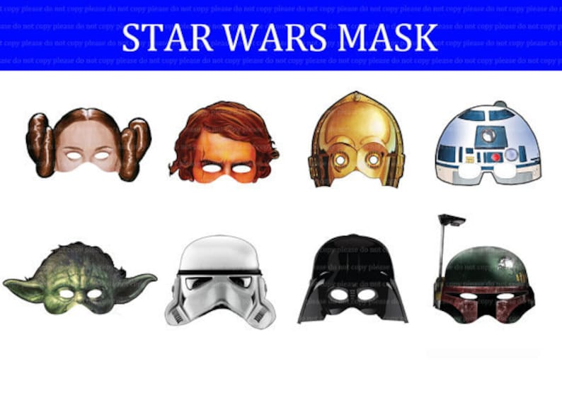 picture about Star Wars Printable Mask identified as Prompt DL- Star Wars mask Birthday Occasion -Printable