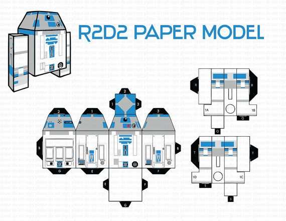 image regarding R2d2 Printable called Prompt DL- R2D2 Paper design - paper craft - Paper Toy - Do-it-yourself- Birthday Bash -Printable