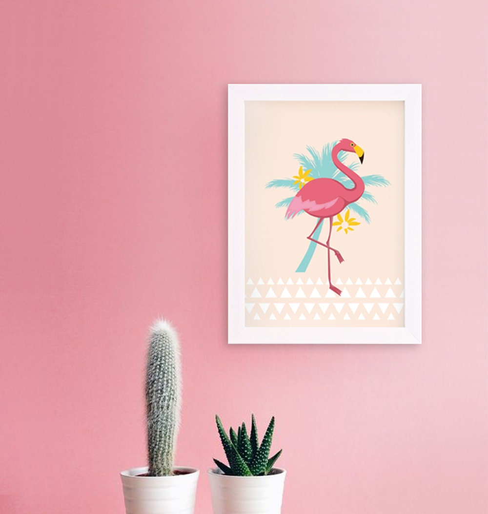 affiche flamant rose format a4 sp cial t etsy. Black Bedroom Furniture Sets. Home Design Ideas