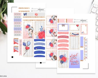 4th of July Mini Kit | Printable Planner Stickers | Happy Planner