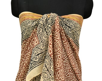 d40dc89a8d8c3 Gold Zari Cotton Cover Up Sarong, Pareo Resort wear, Pool Cover Up Wrap  Scarf - Beach Lovers Gift
