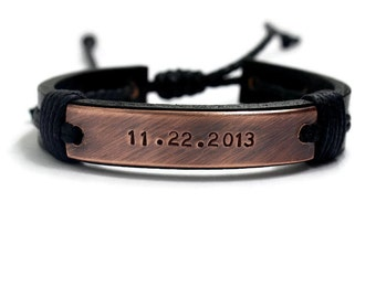 Mens Personalize Bracelet, Valentine's Day Men Bracelet ,Custom Leather Bracelet, Men Leather Bracelet, Engraved Bracelet, Cuff Bracelet