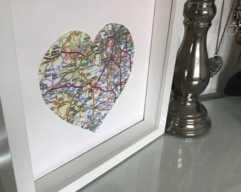 3d Handmade Individual Heart Map Picture in box frames.
