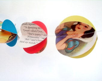 "3D Snow White Paper Garland recycled  2"" circle paper garland 10' disney princess party decoration snowwhite paper garland"