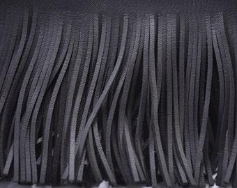 5cm Wide Faux Suede Leather Tassel Cut Fringe Trimming Cowboy Western Fringe BLACK