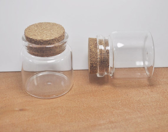 2pcs Large Glass Jars With Cork Pendant Clear Glass Etsy