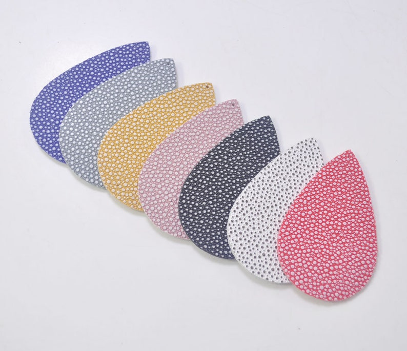 12345Pairs Polka Dot Leather Teardrop Earring Supplies,14 Pieces Mixed Color Teardrop Shapes,Earring Making,Leather Teardrops Die Cut.
