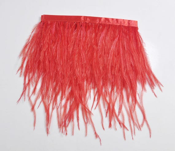 Fiery Red Ombre Ostrich Fringe Trim Wholesale Feather Costume Dress 1 Yard