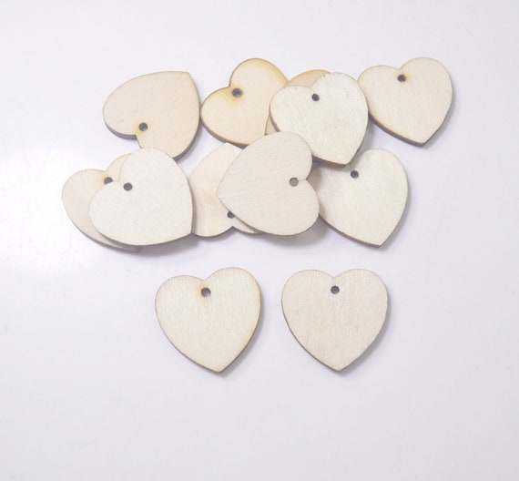 30PCS 24MM MULTI COLOURED HEART SHAPED WOODEN BEADS FOR JEWELLERY MAKING