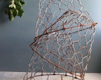 A vintage French muzzle, metal wire muzzle, plant protector, wire cloche, home decor