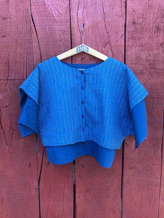 A vintage French Anastasia blue cotton top, Franco