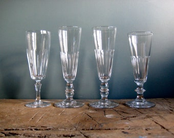 4 vintage French crystal champagne flutes, vintage drinking glasses, champagne glasses