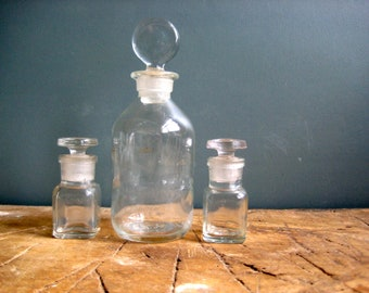 Vintage French apothecary bottles, clear glass pharmacy bottles, glass stoppers