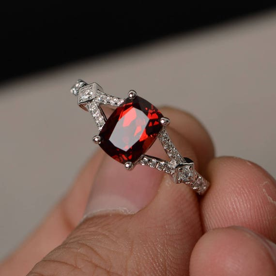Natural Garnet Ring Silver Cushion Cut Gemstone Ring Split Band Engagement Ring January Birthstone Ring