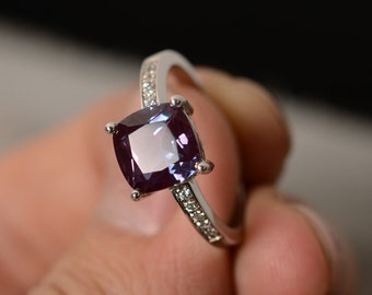 Lab Alexandrite Ring Silver Cushion Cut Ring