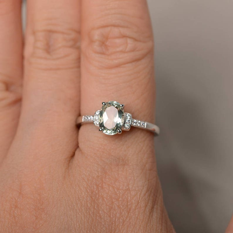 Natural Green Amethyst Engagement Wedding Ring Sterling Silver Ring Oval Cut Green Gemstone Ring