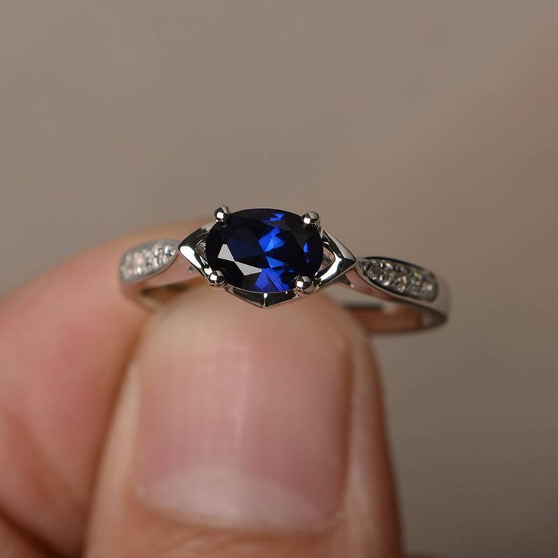 Blue Sapphire Ring Proposal Ring September Birthstone Ring Blue Gemstone Oval Cut Gems Sterling Silver Ring