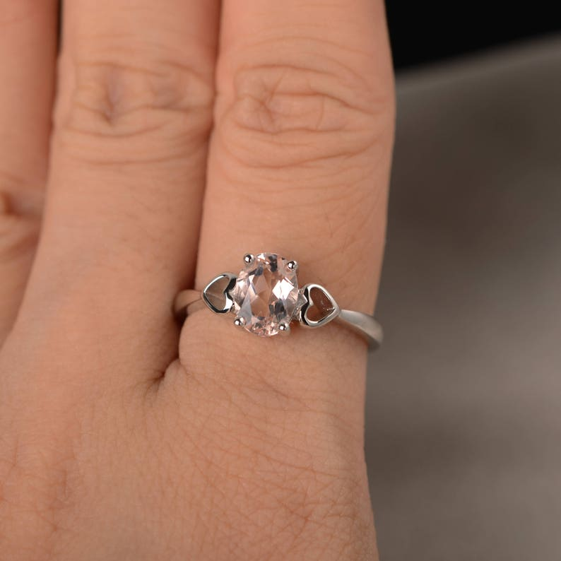 Natural Pink Morganite Ring Anniversary Ring Solitaire Ring Oval Cut Gemstone Ring Sterling Silver Ring