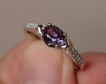 Alexandrite Ring Wedding Ring June Birthstone Ring Color Changing Gemstone Sterling Silver Ring Oval Cut Gemstone