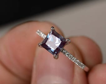 Alexandrite Ring Princess Cut Engagement Ring Silver Gemstone Ring