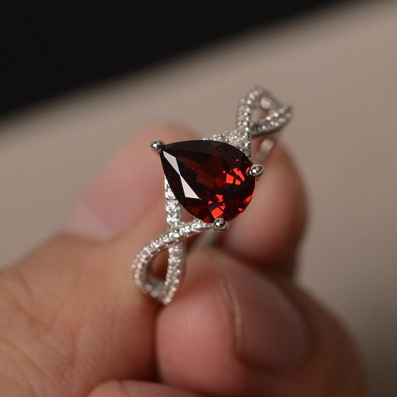 Proposal Ring Natural Red Garnet Ring January Birthstone Ring Red Gemstone Ring Sterling Silver Ring Pear Cut Gemstone
